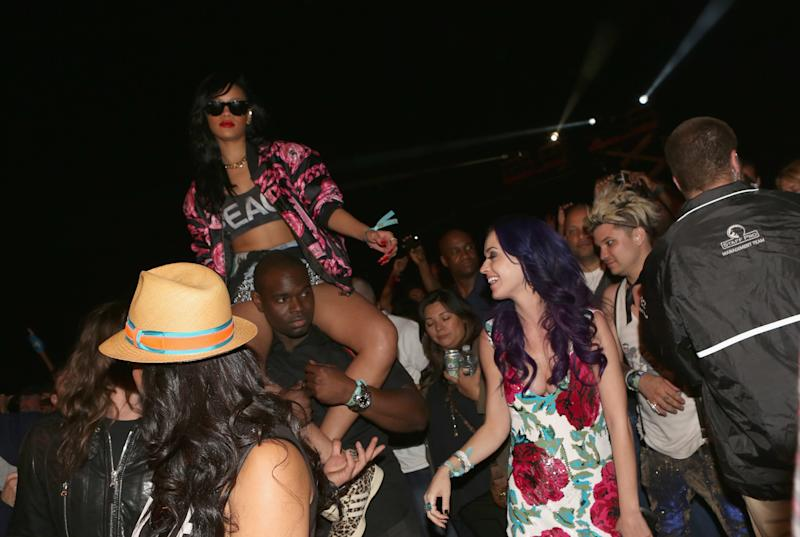 Katy Perry and Rihanna attend the Coachella Music Festival in Indio, California.