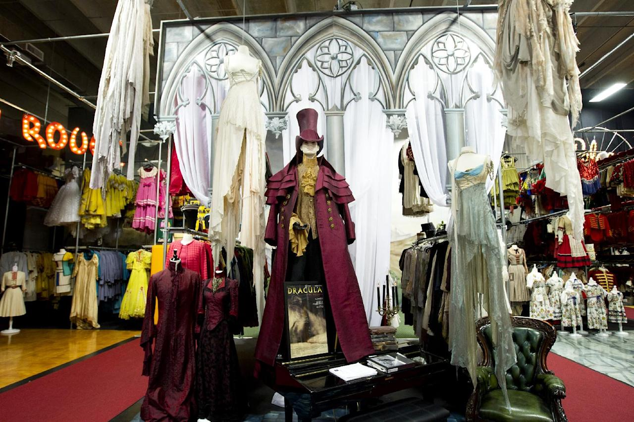 """This Oct, 3, 2012 photo shows a recreated set for the play, """"Dracula the Musical"""", housed in a Pompano Beach, Fla. museum. Marilynn Wick and her daughter Kimberly opened a museum in 2011, showcasing more than one million costumes from nearly 50 shows, guiding daily tours through a non-de script South Florida warehouse against a backdrop of hand painted sets and a marquee replica from storied Broadway theaters like the Winter Garden. (AP Photo/J Pat Carter)"""