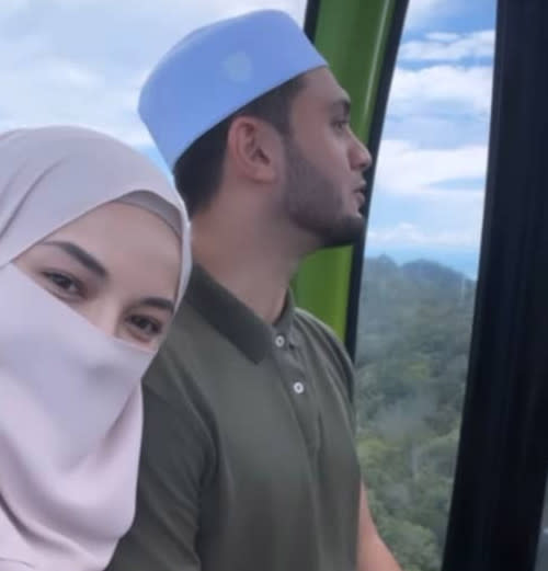 Netizens previously joked about Neelofa and her husband opening their beverage store on top of a mountain after the actress posted a photo of them inside a cable car in Langkawi