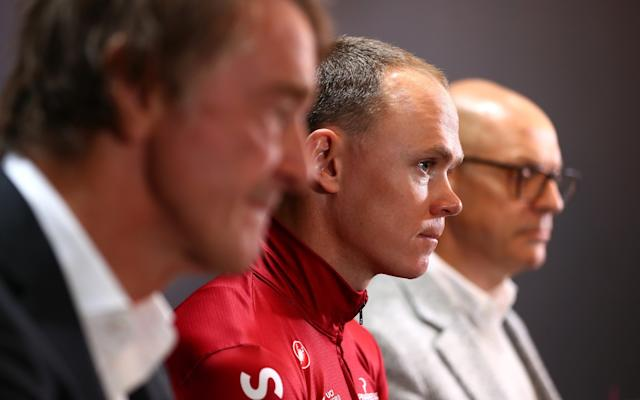 Sir Jim Ratcliffe, Chris Froome and Sir Dave Brailsford - - GETTY IMAGES