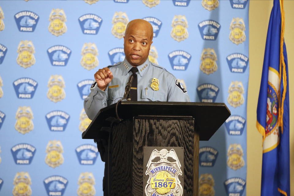 File-This June 10, 2020, file photo shows Minneapolis Police Chief Medaria Arradondo addressing the media, in Minneapolis. The trial of a former Minneapolis police officer in George Floyd's death is expected to turn toward the officer's training on Monday after a first week that was dominated by emotional testimony from eyewitnesses and a devastating video of Floyd's arrest. (AP Photo/Jim Mone, File)