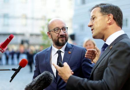 Netherlands' Prime Minister Mark Rutte and Belgium's Prime Minister Charles Michel speak to the media as they arrive for the informal meeting of European Union leaders in Salzburg, Austria, September 20, 2018. REUTERS/Lisi Niesner
