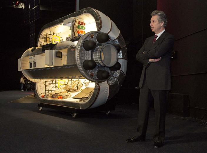 Bigelow Aerospace founder Robert Bigelow listens to questions from members of the media during a news conference in Las Vegas.