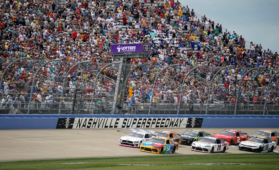 Drivers take the green flag for Saturday's NASCAR Xfinity Series race Nashville Superspeedway.