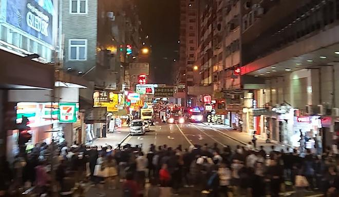 Nearby residents were evacuated as the drama unfolded in Mong Kok. Photo: Facebook