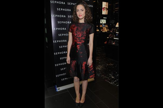 Actress Rose Byrne attends the Sephora Times Square Location Reopening last December 2012 in a graphic paint-splattered print on a little black dress by Monique Lhuillier.
