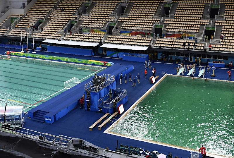 Dark pool water Fibreglass The Murky Green Water Polo Pool l And The Dark Green Diving Pool Yahoo Finance Rio Diving Pool Drained Of Green Water