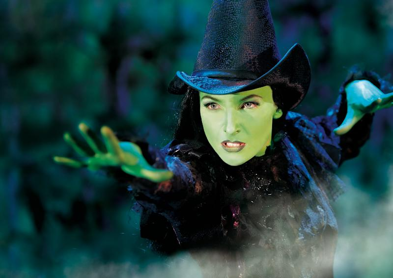 "This undated image released by Brinkoff-Mogenburg shows Willemijn Verkaik as Elphaba during a performance of ""Wicked.""  Verkaik, a Dutch actress who has played the role of Elphaba in versions of ""Wicked"" in Germany and Holland, last month made her debut on Broadway for a 15-week stint as the green-skinned witch. (AP Photo/Brinkoff-Mogenburg)"