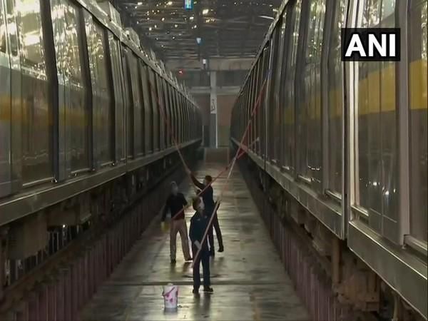 Cleaning & sanitisation activities being carried before the resumption of the Metro after 169 days. (Photo/ANI)
