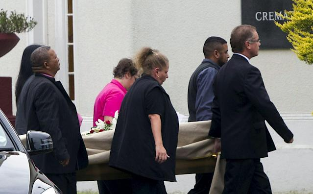 "The body of model Reeva Steenkamp arrives at the Victoria Park Crematorium ahead of her memorial service in Port Elizabeth in this February 19, 2013 file photo. Oscar Pistorius is due to be released on Friday after serving 10 months of a five-year sentence, in line with South Africa's custodial guidelines for non-dangerous prisoners. REUTERS/Rogan Ward/FilesFROM THE FILES PACKAGE ""OSCAR PISTORIUS DUE TO BE RELEASED"". SEARCH ""PISTORIUS FILES"" FOR ALL 20 IMAGES"
