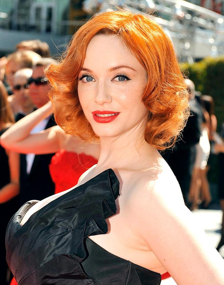"Red hot ""Mad Men"" star Christina Hendricks has also been coloring her coif since she was 10. In July 2010, she told <i>Los Angeles Times Magazine</i> that she ""was obsessed with the Canadian novel <i>Anne of Green Gables</i>. I decided I was Anne of Green Gables. There was something that spoke to me about her, and I wanted to have her beautiful red hair. So my mother said, 'Let's just go to the drugstore and get one of those cover-the-gray rinses!' My hair was very blond at the time, but it went carrot red. And I was over the moon. I went to school the next day and felt like myself. And then I went back [to that color] over and over again. What a cool mom, right?"" Mathew Imaging/<a href=""http://www.wireimage.com"" target=""new"">WireImage.com</a> - September 8, 2010"