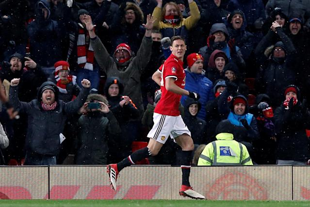 Soccer Football - FA Cup Quarter Final - Manchester United vs Brighton & Hove Albion - Old Trafford, Manchester, Britain - March 17, 2018 Manchester United's Nemanja Matic celebrates scoring their second goal REUTERS/Andrew Yates