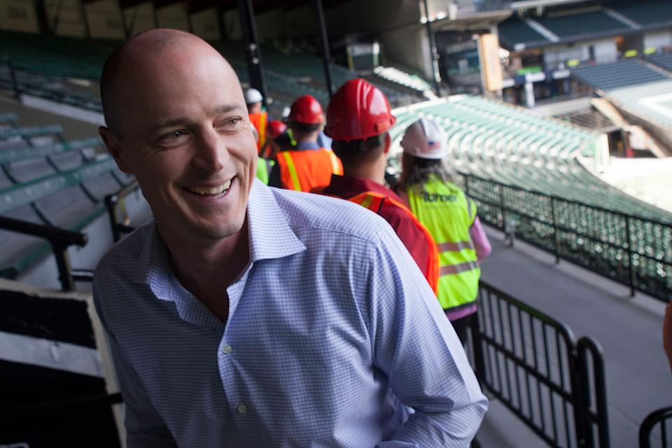 May 7, 2019; Portland, OR, USA; Portland Timbers owner and Chief Executive Officer Merritt Paulson visits during the hard-hat tour of Providence Park. Mandatory Credit: Jaime Valdez-USA TODAY Sports