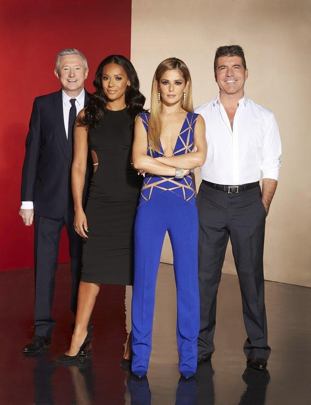 Mel with her fellow 'X Factor' judges in 2014 (l-r) Louis Walsh, Cheryl and Simon Cowell.