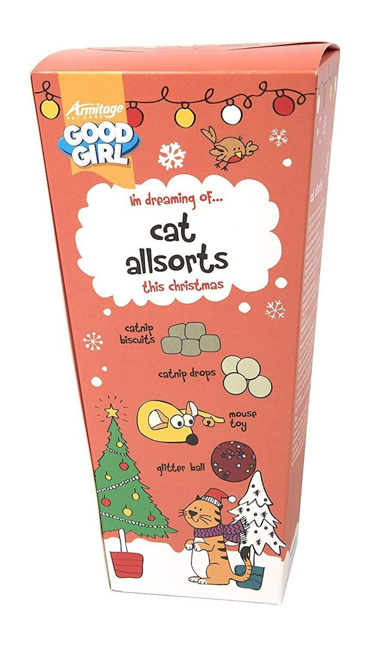 "<a href=""https://amzn.to/2tbDuwu"" target=""_blank"" rel=""noopener noreferrer"">Cat Allsorts Christmas Treats for Cats and Kittens, Amazon,</a> &pound;7.34 (Photo: HuffPost UK)"