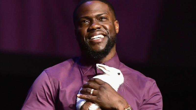 Kevin Hart holding a bunny.
