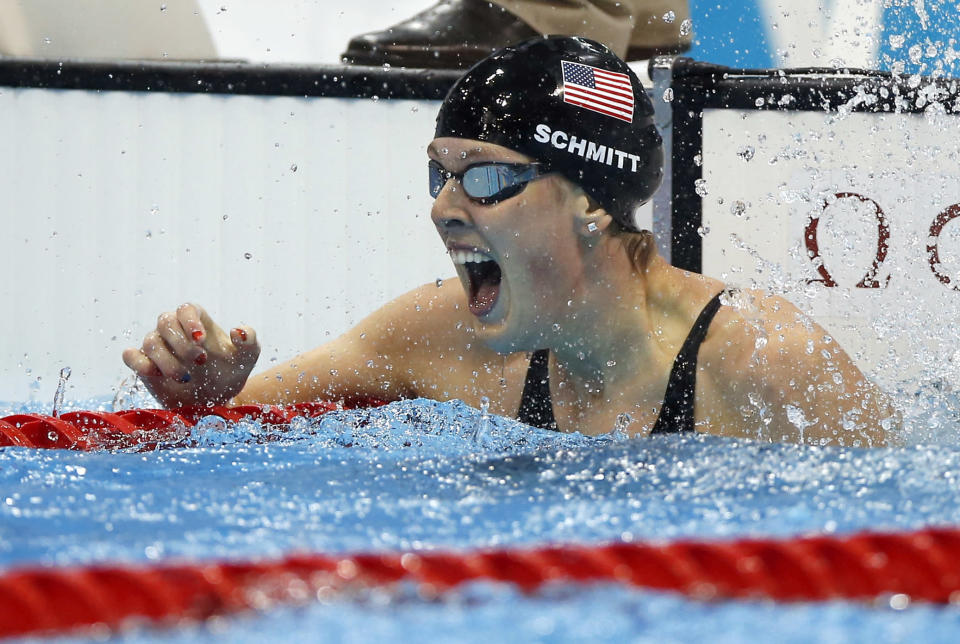 United States' Allison Schmitt reacts to her gold medal win in the women's 200-meter freestyle swimming final at the Aquatics Centre in the Olympic Park during the 2012 Summer Olympics in London, Tuesday, July 31, 2012. (AP Photo/Daniel Ochoa De Olza)
