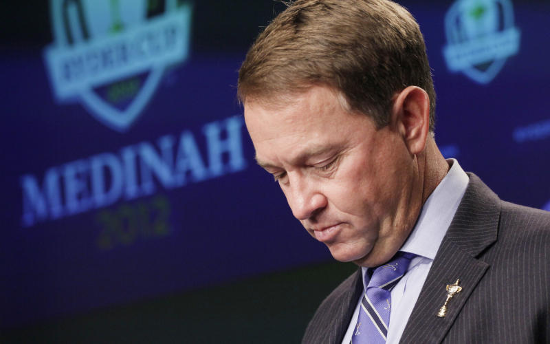 United States Ryder Cup captain Davis Love III announces the final four golfers for the American team during a news conference, Tuesday, Sept. 4, 2012 in New York. Love filled out his 12-man team by selecting  Dustin Johnson, Jim Furyk, Brandt Snedeker and Steve Stricker. (AP Photo/Mark Lennihan)