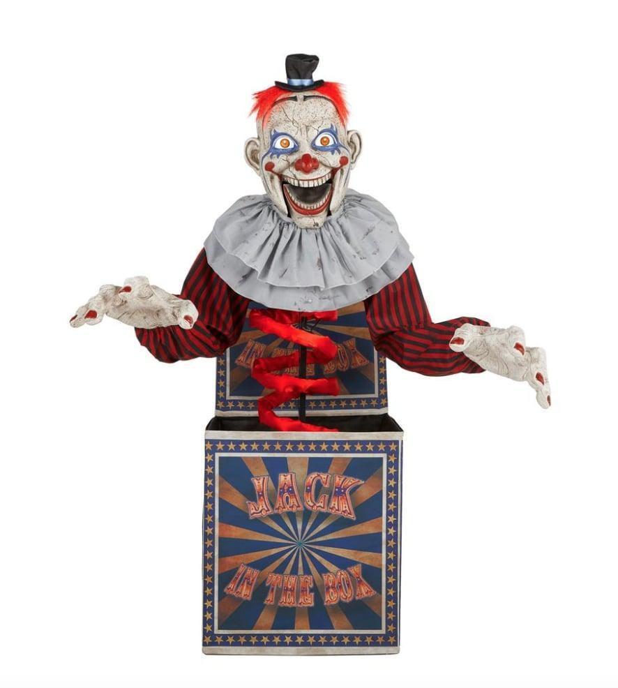 <p>Between its bulging animated eyes and spooky voice activation, the <span>Animated LED Creepy Jack in the Box</span> ($229) checks all the boxes off the scare list. Simply plug this scary character into an outlet to see him come to life. </p>