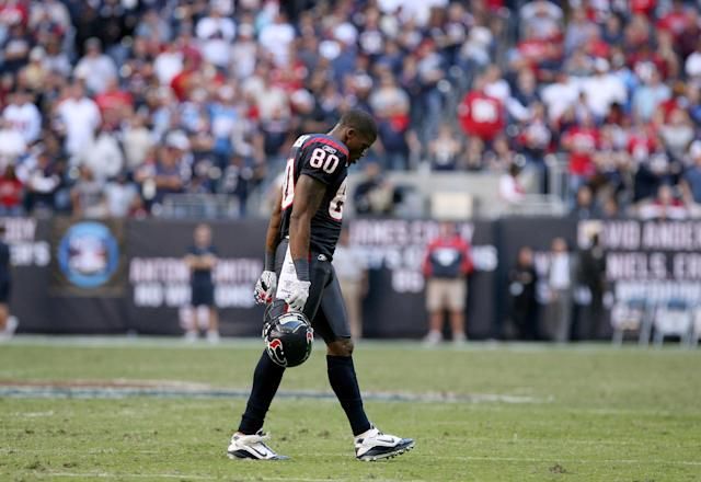 Andre Johnson is one of the greatest players in Texans history — but the team's jersey is not. (Photo by Thomas B. Shea/Icon SMI/Icon Sport Media via Getty Images)