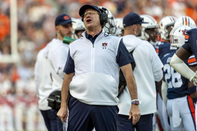 Auburn head coach Gus Malzahn argues a call during the first half of an NCAA college football game against Alabama, Saturday, Nov. 30, 2019, in Auburn, Ala. (AP Photo/Vasha Hunt)