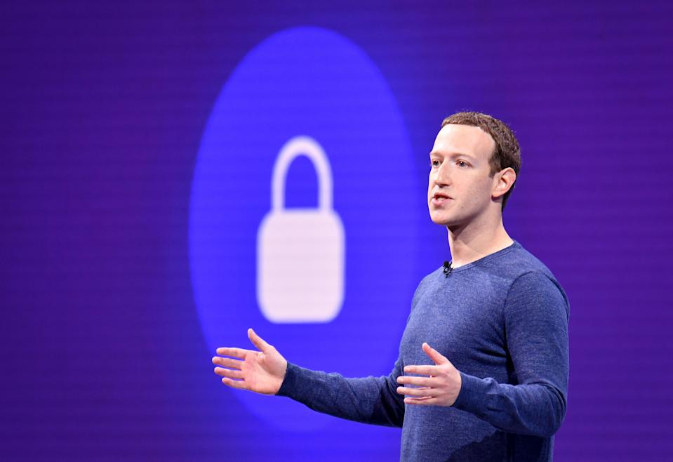 """(FILES) In this file photo taken on May 1, 2018 Facebook CEO Mark Zuckerberg speaks during the annual F8 summit at the San Jose McEnery Convention Center in San Jose, California. - Facebook is leaping into the world of cryptocurrency with its own digital money, designed to let people save, send or spend money as easily as firing off text messages.""""Libra"""" -- described as """"a new global currency"""" -- was unveiled June 18, 2019 in a new initiative in payments for the world's biggest social network with the potential to bring crypto-money out of the shadows and into the mainstream. Facebook and an array of partners released a prototype of Libra as an open source code to be used by developers interested in weaving it into apps, services or businesses ahead of a rollout as global digital money next year. (Photo by JOSH EDELSON / AFP)        (Photo credit should read JOSH EDELSON/AFP/Getty Images)"""