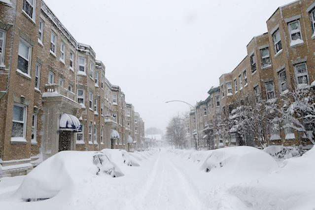 BOSTON, MA - FEBRUARY 9: A section of Gordon Street in the Brighton neighborhood is covered in snow on February 9, 2013 in Boston, Massachusetts. The powerful storm has knocked out power to 650,000 and dumped more than two feet of snow in parts of New England. (Photo by Jared Wickerham/Getty Images)