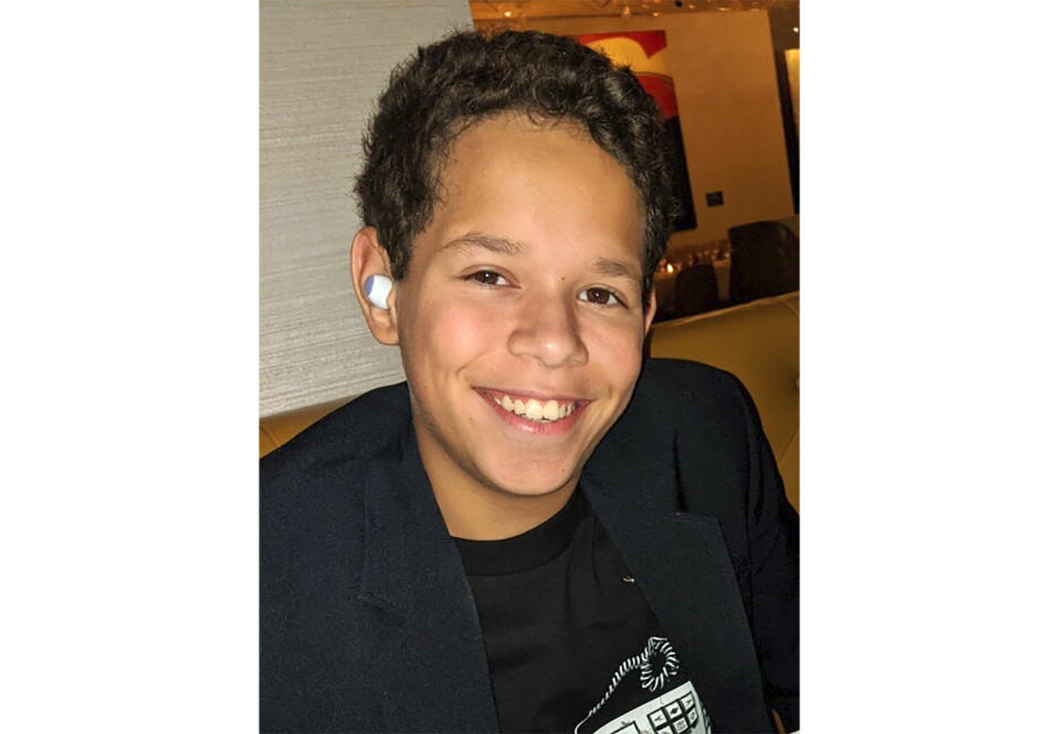 This image released by Peter Klamka shows a recent photo of his son, Peter, 13. The younger Klamka, an eighth-grader from Las Vegas, will return to his private school in about three weeks. (Peter Klamka via AP)