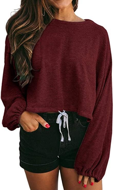 <p>Why not pair this short <span>Gamisote Waffle Knit Oversized Crop Pullover</span> ($15-$21) with high-waisted pants?</p>