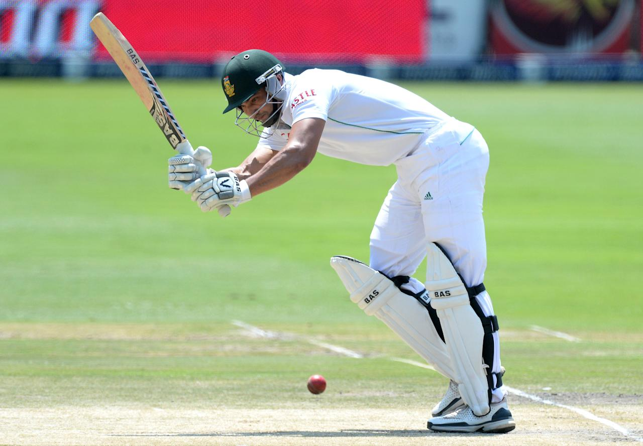 JOHANNESBURG, SOUTH AFRICA - DECEMBER 22: Alviro Petersen of South Afric a plays to square-leg during day 5 of the 1st Test match between South Africa and India at Bidvest Wanderers Stadium on December 22, 2013 in Johannesburg, South Africa. (Photo by Duif du Toit/Gallo Images/Getty Images)