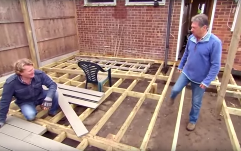 Alan Titchmarsh on Ground Force, putting in some decking - Credit: BBC