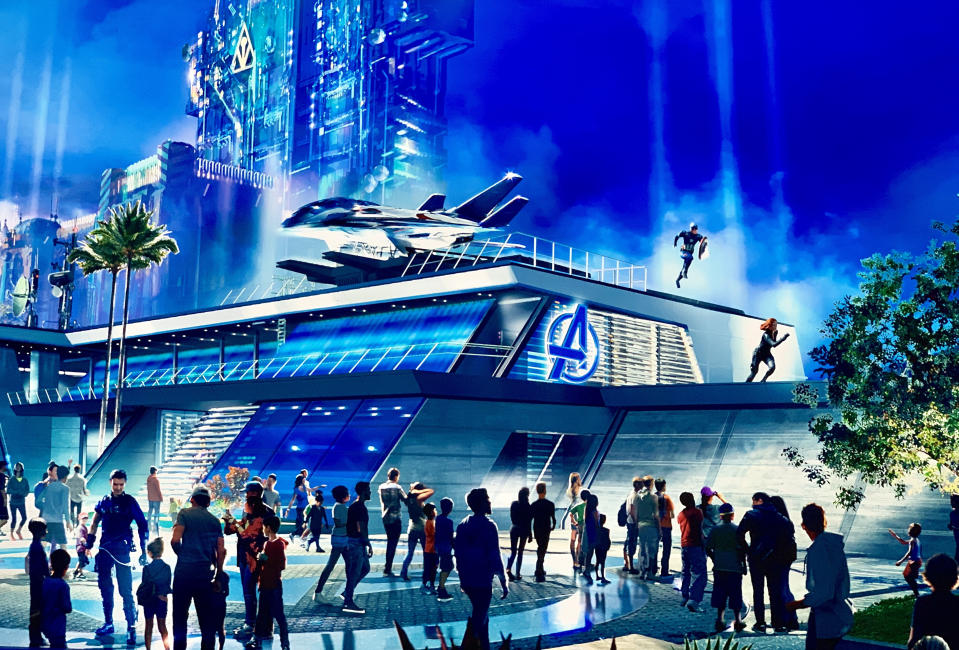 """ANAHEIM, CA - AUGUST 22: Rendering of Disney California  Adventure""""u2019s upcoming Marvel-themed land named Avengers Campus during a media preview at the D23 Expo in Anaheim, CA, on Thursday, Aug. 22, 2019.""""n(Photo by Jeff Gritchen/MediaNews Group/Orange County Register via Getty Images)"""