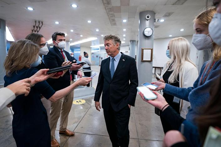 Republican Senator from Kentucky Rand Paul speaks to the media before being sworn-in for the upcoming impeachment trial against former President Donald Trump in the Capitol in Washington on Jan. 26, 2021.