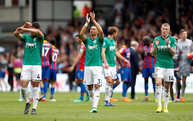 "Soccer Football - Premier League - Crystal Palace vs West Bromwich Albion - Selhurst Park, London, Britain - May 13, 2018 West Bromwich Albion's Kieran Gibbs and James McClean applaud the fans after the match Action Images via Reuters/Matthew Childs EDITORIAL USE ONLY. No use with unauthorized audio, video, data, fixture lists, club/league logos or ""live"" services. Online in-match use limited to 75 images, no video emulation. No use in betting, games or single club/league/player publications. Please contact your account representative for further details."