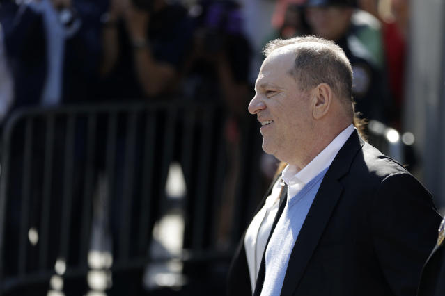 <p>Harvey Weinstein leaves the first precinct of the New York City Police Department after turning himself in to authorities following allegations of sexual misconduct, Friday, May 25, 2018, in New York. (Photo: Julio Cortez/AP) </p>