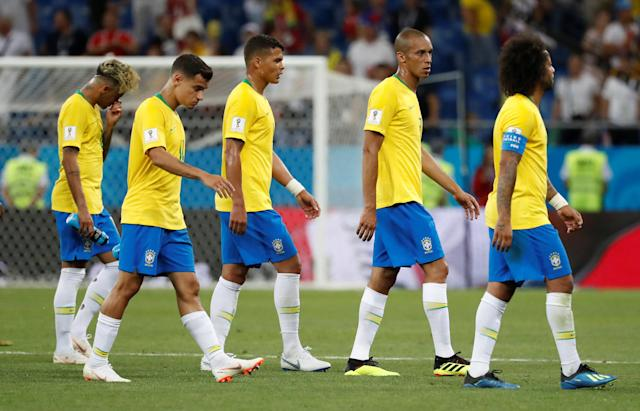 Soccer Football - World Cup - Group E - Brazil vs Switzerland - Rostov Arena, Rostov-on-Don, Russia - June 17, 2018 Brazil's Neymar, Philippe Coutinho, Thiago Silva, Miranda and Marcelo look dejected at the end of the match REUTERS/Damir Sagolj