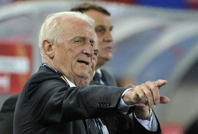 Ireland's head coach Giovanni Trapattoni of Italy reacts during the World Cup 2014 qualification group C soccer match between Austria and Ireland in Vienna, Austria, on Tuesday, Sept. 10, 2013. (AP Photo/Hans Punz)