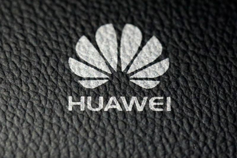 A Huawei device is pictured in the Manhattan borough of New York