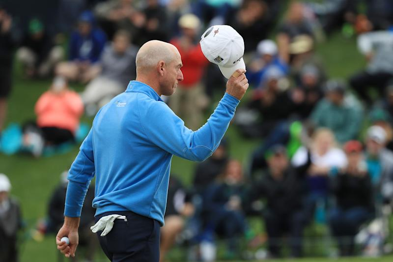 PONTE VEDRA BEACH, FLORIDA - MARCH 17: Jim Furyk of the United States reacts after finishing on the 18th green during the final round of The PLAYERS Championship on The Stadium Course at TPC Sawgrass on March 17, 2019 in Ponte Vedra Beach, Florida. (Photo by Mike Ehrmann/Getty Images)