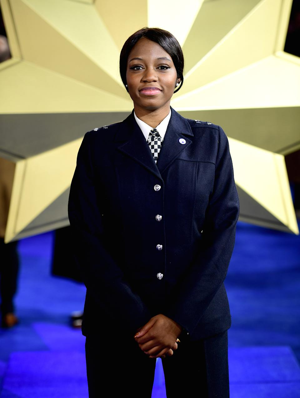 PC Khafi Kareem at the Captain Marvel European Premiere in London in February (Picture: PA)