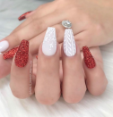 "<p>Bet you didn't think you could get that cozy sweater look on your nails. Combined with a festive red accent nail, this look by <a href=""https://www.instagram.com/nails_makeupbyiliae/"" rel=""nofollow noopener"" target=""_blank"" data-ylk=""slk:nail artist Ilia Enid"" class=""link rapid-noclick-resp"">nail artist Ilia Enid</a> hits all the snuggly Christmas notes.</p><p><a class=""link rapid-noclick-resp"" href=""https://go.redirectingat.com?id=74968X1596630&url=https%3A%2F%2Fwww.etsy.com%2Flisting%2F756331491%2Fsweater-girl-fake-nails-false-nails-hand&sref=https%3A%2F%2Fwww.oprahmag.com%2Fbeauty%2Fg34113691%2Fchristmas-nail-ideas%2F"" rel=""nofollow noopener"" target=""_blank"" data-ylk=""slk:SHOP PRESS ON NAILS"">SHOP PRESS ON NAILS</a></p>"