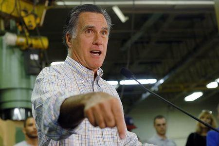 Former Republican presidential nominee Mitt Romney speaks at a campaign rally with Republican candidate for the United States Senate Scott Brown at Gilchrist Metal Fabricating in Hudson