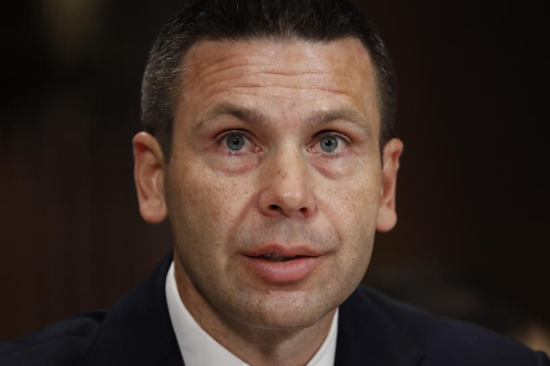 Acting Department of Homeland Security Secretary Kevin McAleenan testifies before the Senate Judiciary Committee on Capitol Hill in Washington, Tuesday, June 11, 2019. (AP Photo/Pablo Martinez Monsivais)