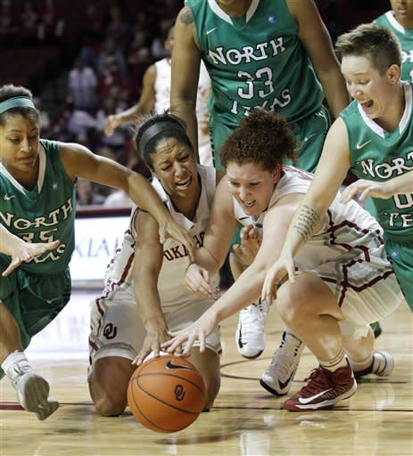 North Texas guard Loryn Goodwin (35), Oklahoma center Nicole Griffin (4), forward Joanna McFarland (53) and North Texas guard Hannah Christian (00) reach for a loose ball in the second half of a women's NCAA college basketball game in Norman, Okla., Thursday, Dec. 6, 2012. Oklahoma won 71-68. (AP Photo/Sue Ogrocki)