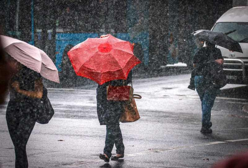 Pedestrians walk across a main road holding umbrellas during wet weather in the centre of Sydney.