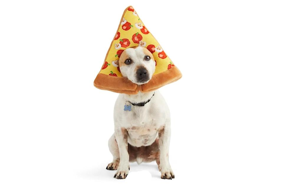 """<p>For when your dog has their mind on pizza, and pizza on their mind. </p> <p><strong>Buy it!</strong> Pizza Me Pet Costume, $5.00; <a href=""""https://www.anrdoezrs.net/links/8029122/type/dlg/sid/PEO25HalloweenCostumesforDogsthatWillHaveTrickorTreatersHowlingwithJoykbender1271PetGal12909733202109I/https://www.petco.com/shop/en/petcostore/product/bootique-pizza-me-pet-costume-largex-large-3345231"""" rel=""""sponsored noopener"""" target=""""_blank"""" data-ylk=""""slk:Petco.com"""" class=""""link rapid-noclick-resp"""">Petco.com</a></p>"""