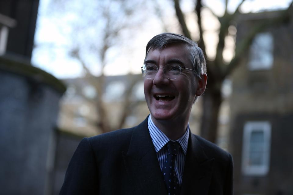 LONDON, UNITED KINGDOM - DECEMBER 15: Leader of the House of Commons Jacob Rees-Mogg  arrives at 10 Downing Street in London, England on December 15, 2020. (Photo by Tayfun Salci/Anadolu Agency via Getty Images)