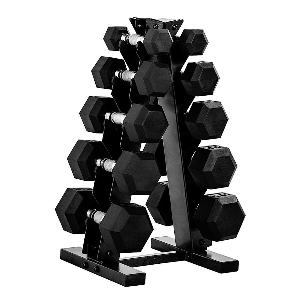 """<p><strong>CAP Barbell</strong></p><p>amazon.com</p><p><strong>399.00</strong></p><p><a href=""""https://www.amazon.com/dp/B085WT9TJL?tag=syn-yahoo-20&ascsubtag=%5Bartid%7C2141.g.36230823%5Bsrc%7Cyahoo-us"""" rel=""""nofollow noopener"""" target=""""_blank"""" data-ylk=""""slk:Shop Now"""" class=""""link rapid-noclick-resp"""">Shop Now</a></p><p>With <strong>five sets of </strong><strong>weights ranging from 5 to 25 pounds each</strong>, this dumbbell set (and its space-saving rack) are worth the investment. Rama uses a CAP barbell set exactly like this one, and she estimates that her set is at least 30 years old and still works with zero issues. She loves that the heavier weights at the bottom act as motivation if they're too heavy for you when you start working out.</p>"""