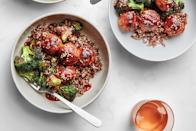 """We'll never say no to a <a href=""""https://www.epicurious.com/recipes-menus/easy-sheet-pan-dinners-recipes-chicken-salmon-shrimp-steak-fast-weeknight-meals-gallery?mbid=synd_yahoo_rss"""" rel=""""nofollow noopener"""" target=""""_blank"""" data-ylk=""""slk:sheet-pan dinner."""" class=""""link rapid-noclick-resp"""">sheet-pan dinner.</a> And this glossy sweet-and-sour sauce is guaranteed to be a hit. <a href=""""https://www.epicurious.com/recipes/food/views/sheet-pan-chicken-meatballs-and-charred-broccoli?mbid=synd_yahoo_rss"""" rel=""""nofollow noopener"""" target=""""_blank"""" data-ylk=""""slk:See recipe."""" class=""""link rapid-noclick-resp"""">See recipe.</a>"""