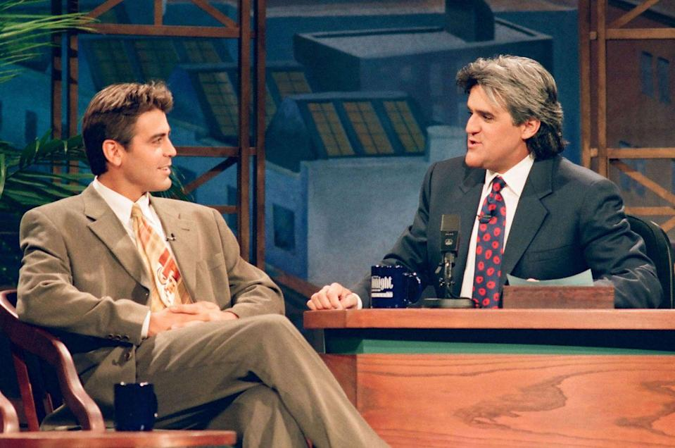 <p>Clooney during an interview with host Jay Leno on November 24, 1994.</p>